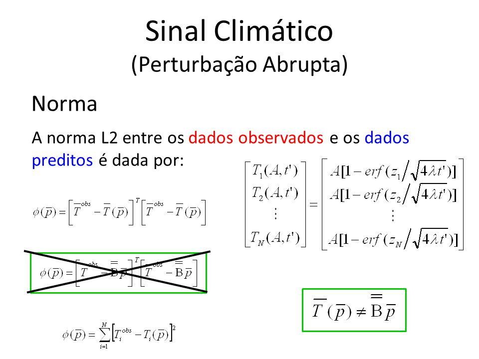 Norma A norma L2 entre os dados observados e os dados preditos é dada por: Sinal Climático (Perturbação Abrupta)