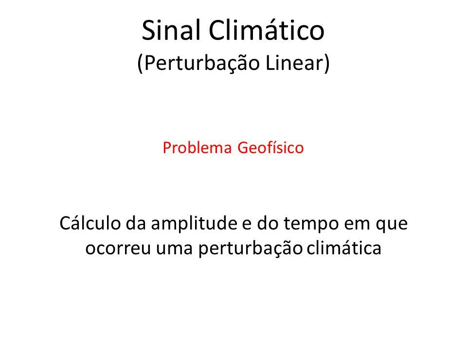Cálculo da amplitude e do tempo em que ocorreu uma perturbação climática Problema Geofísico Sinal Climático (Perturbação Linear)