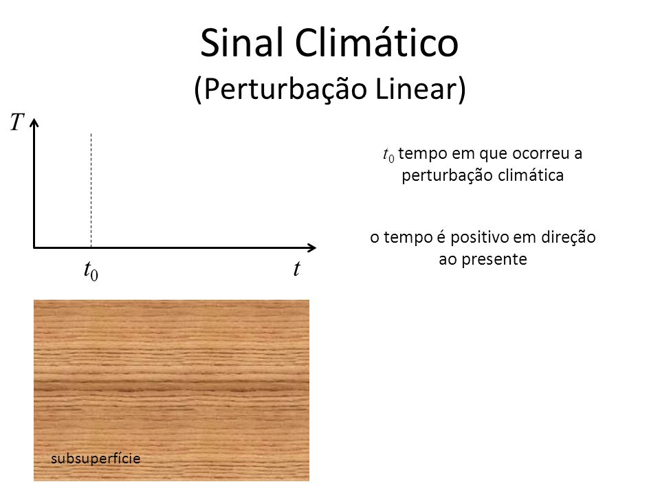 Sinal Climático (Perturbação Linear) subsuperfície T t t 0 tempo em que ocorreu a perturbação climática t0t0 o tempo é positivo em direção ao presente
