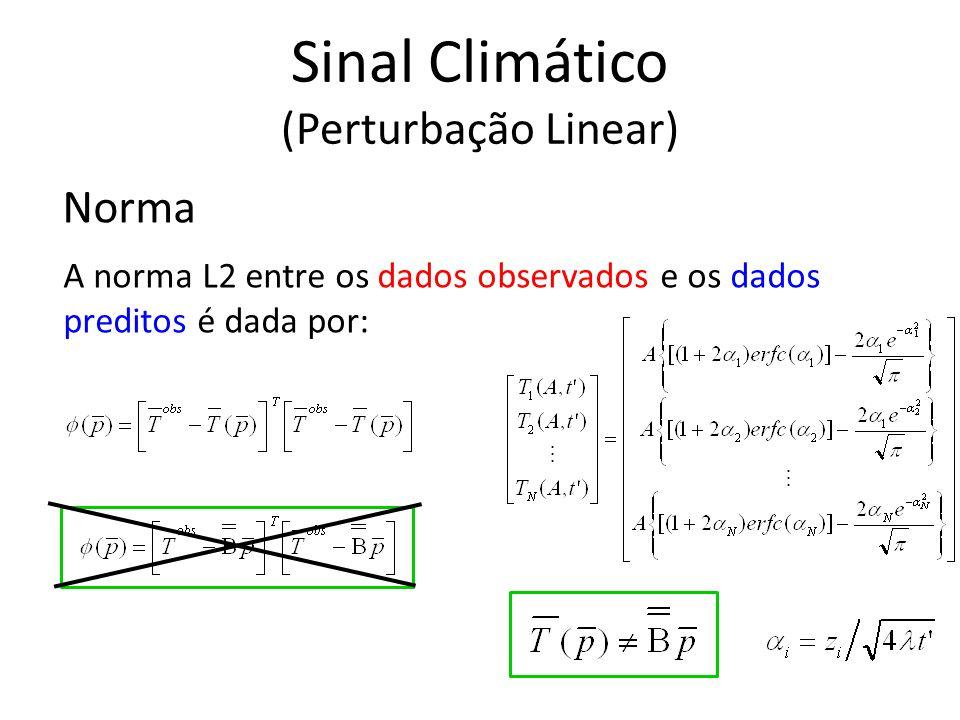 Norma A norma L2 entre os dados observados e os dados preditos é dada por: Sinal Climático (Perturbação Linear)