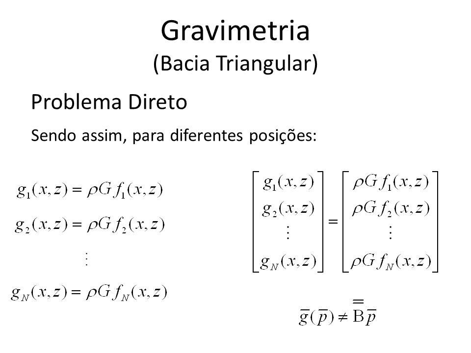 Problema Direto Sendo assim, para diferentes posições:... Gravimetria (Bacia Triangular)