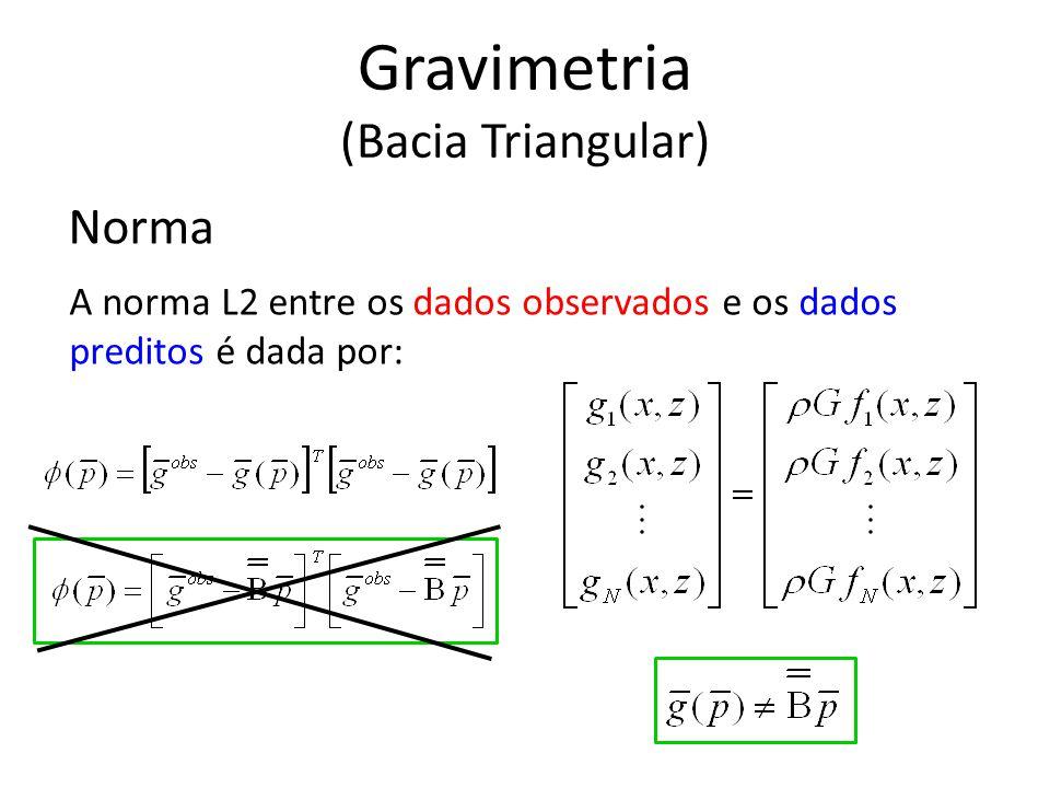Norma A norma L2 entre os dados observados e os dados preditos é dada por: Gravimetria (Bacia Triangular)