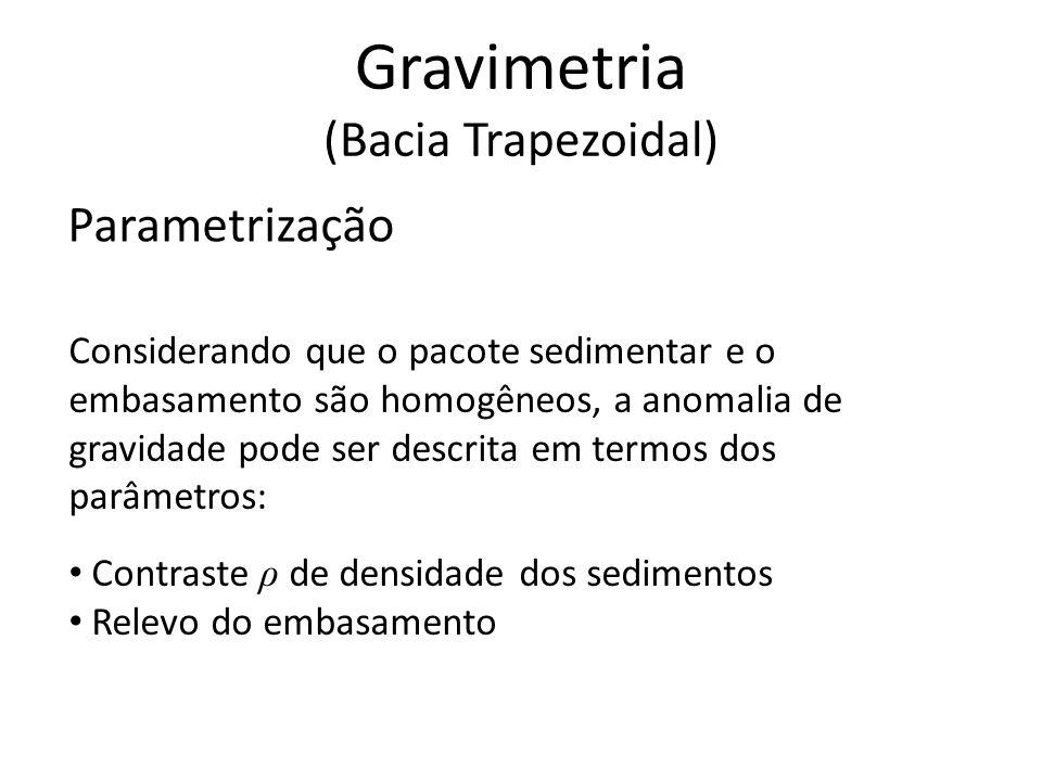 Parametrização Considerando que o pacote sedimentar e o embasamento são homogêneos, a anomalia de gravidade pode ser descrita em termos dos parâmetros