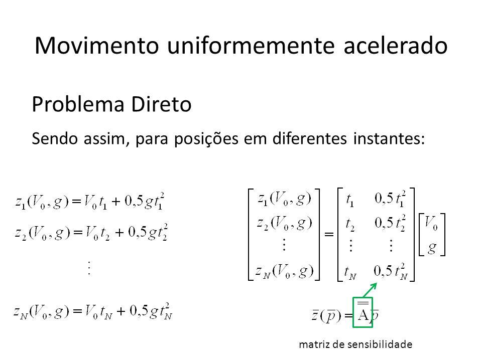 Movimento uniformemente acelerado... matriz de sensibilidade Sendo assim, para posições em diferentes instantes: Problema Direto