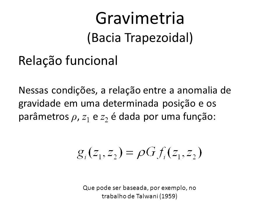 Relação funcional Nessas condições, a relação entre a anomalia de gravidade em uma determinada posição e os parâmetros ρ, z 1 e z 2 é dada por uma fun