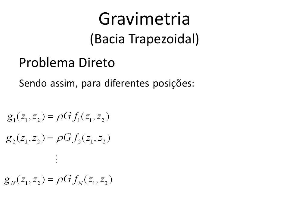 Problema Direto Sendo assim, para diferentes posições:... Gravimetria (Bacia Trapezoidal)