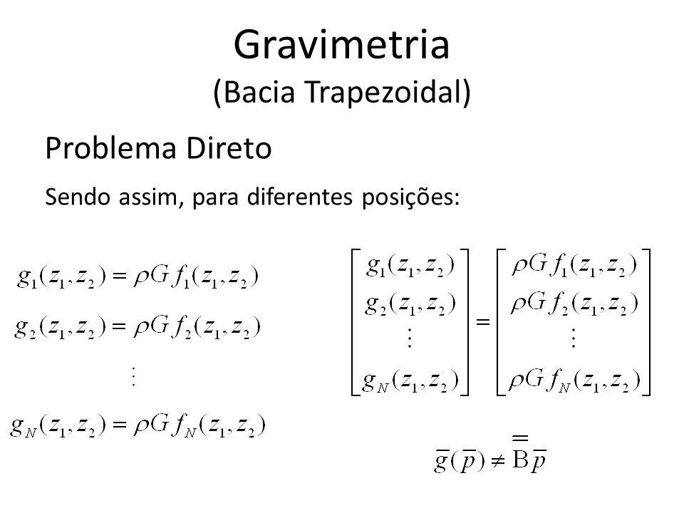 Problema Direto Sendo assim, para diferentes posições: Gravimetria (Bacia Trapezoidal)...