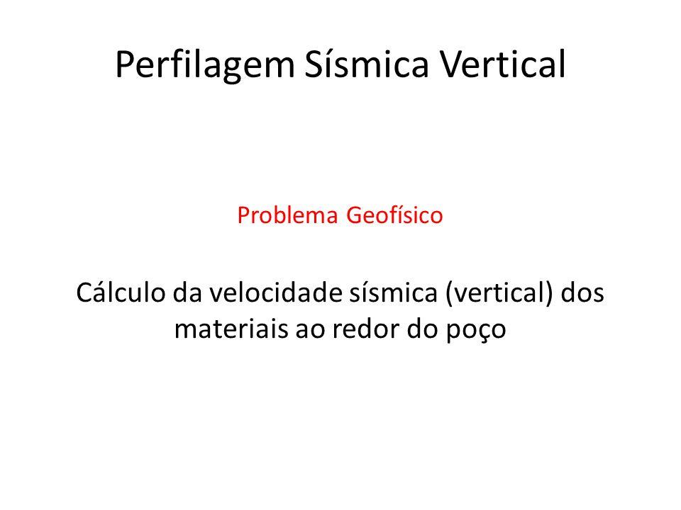 Perfilagem Sísmica Vertical Cálculo da velocidade sísmica (vertical) dos materiais ao redor do poço Problema Geofísico