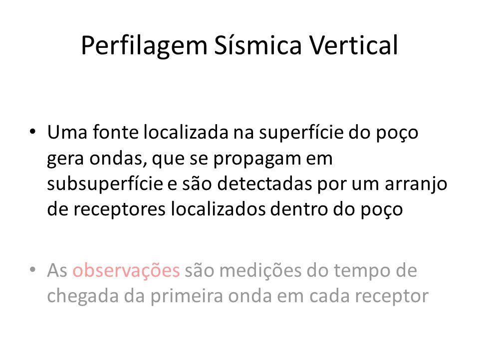 Perfilagem Sísmica Vertical Uma fonte localizada na superfície do poço gera ondas, que se propagam em subsuperfície e são detectadas por um arranjo de