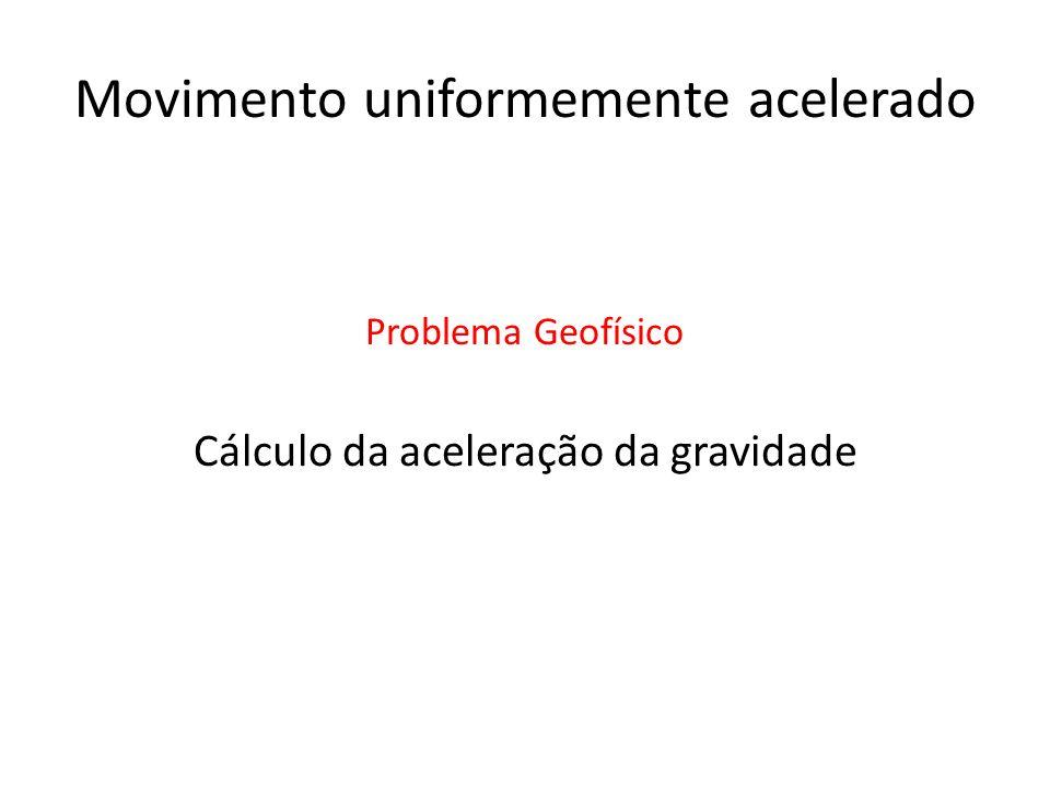 Movimento uniformemente acelerado Cálculo da aceleração da gravidade Problema Geofísico
