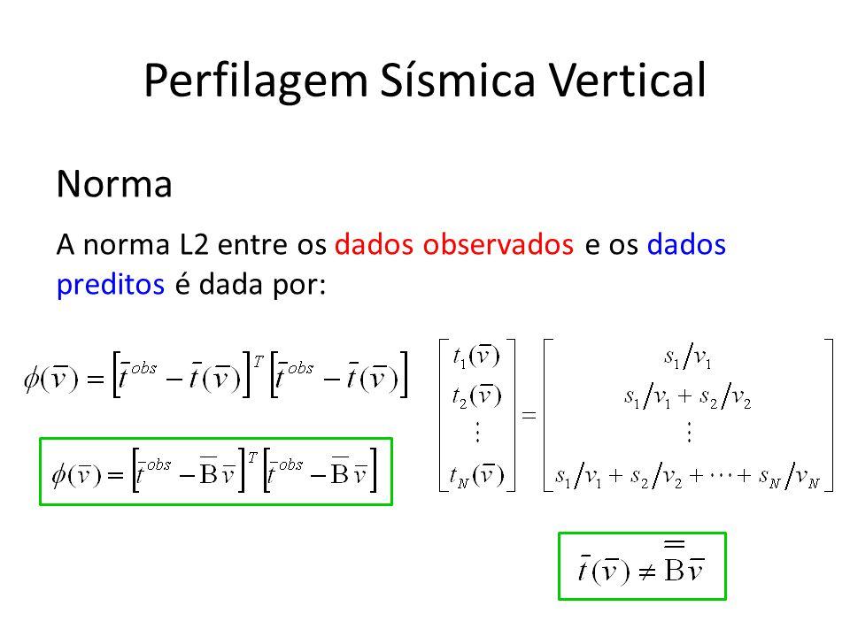 Perfilagem Sísmica Vertical Norma A norma L2 entre os dados observados e os dados preditos é dada por: