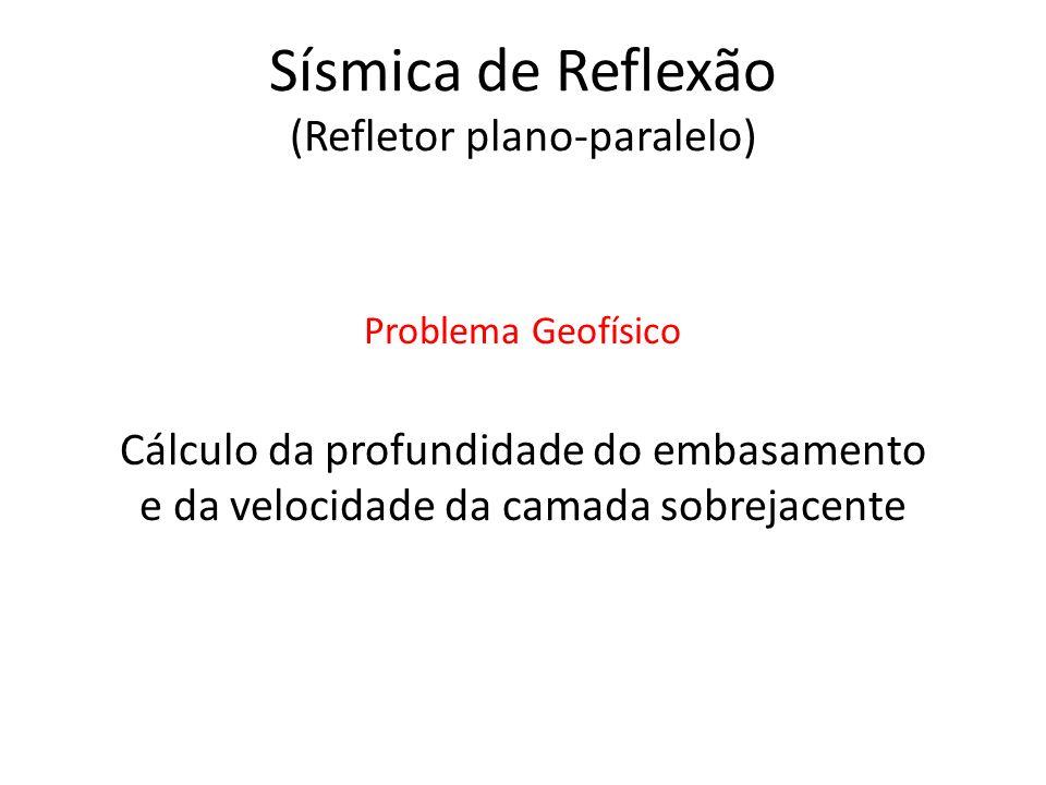 Sísmica de Reflexão (Refletor plano-paralelo) Cálculo da profundidade do embasamento e da velocidade da camada sobrejacente Problema Geofísico