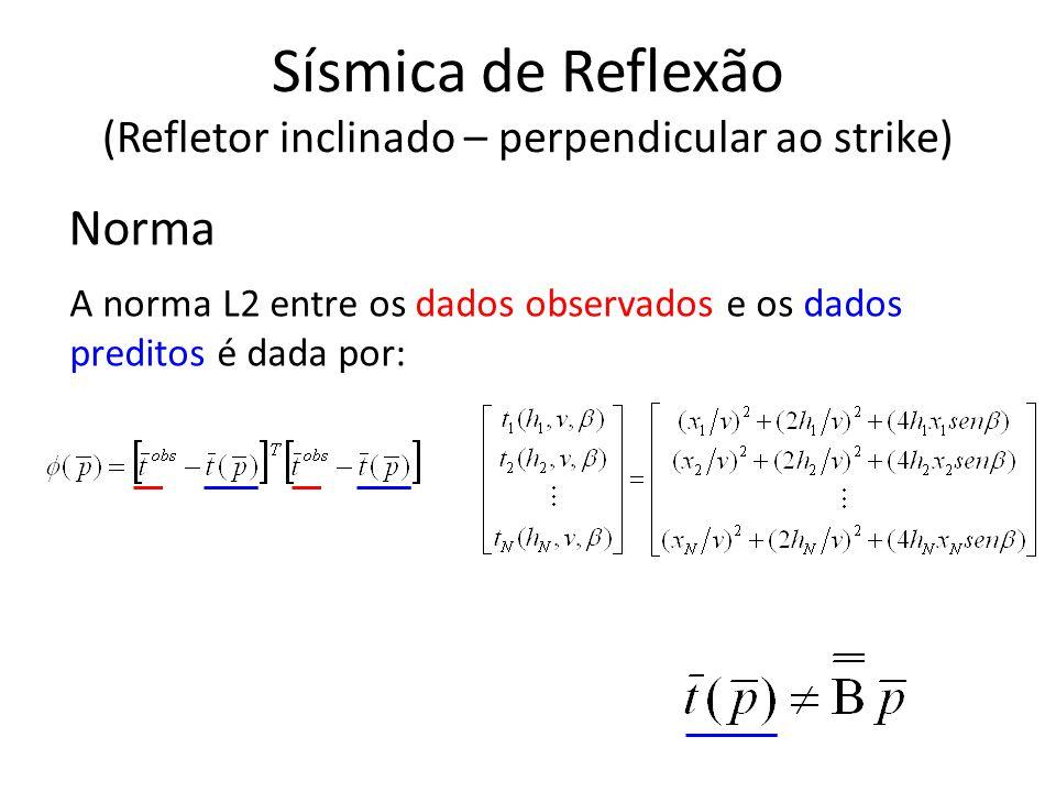 Norma A norma L2 entre os dados observados e os dados preditos é dada por: Sísmica de Reflexão (Refletor inclinado – perpendicular ao strike)