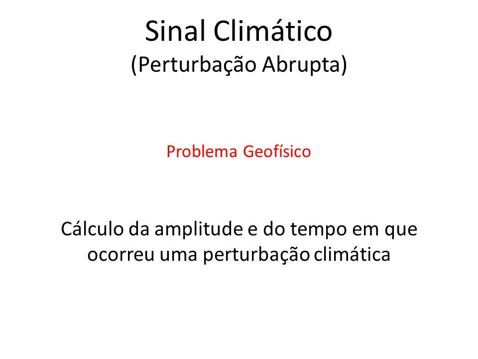 Cálculo da amplitude e do tempo em que ocorreu uma perturbação climática Problema Geofísico Sinal Climático (Perturbação Abrupta)