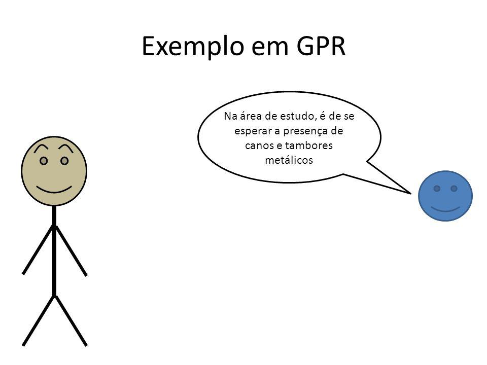 Exemplo em GPR Na área de estudo, é de se esperar a presença de canos e tambores metálicos