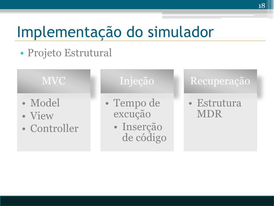 Implementação do simulador Projeto Estrutural 18 MVC Model View Controller Injeção Tempo de excução Inserção de código Recuperação Estrutura MDR