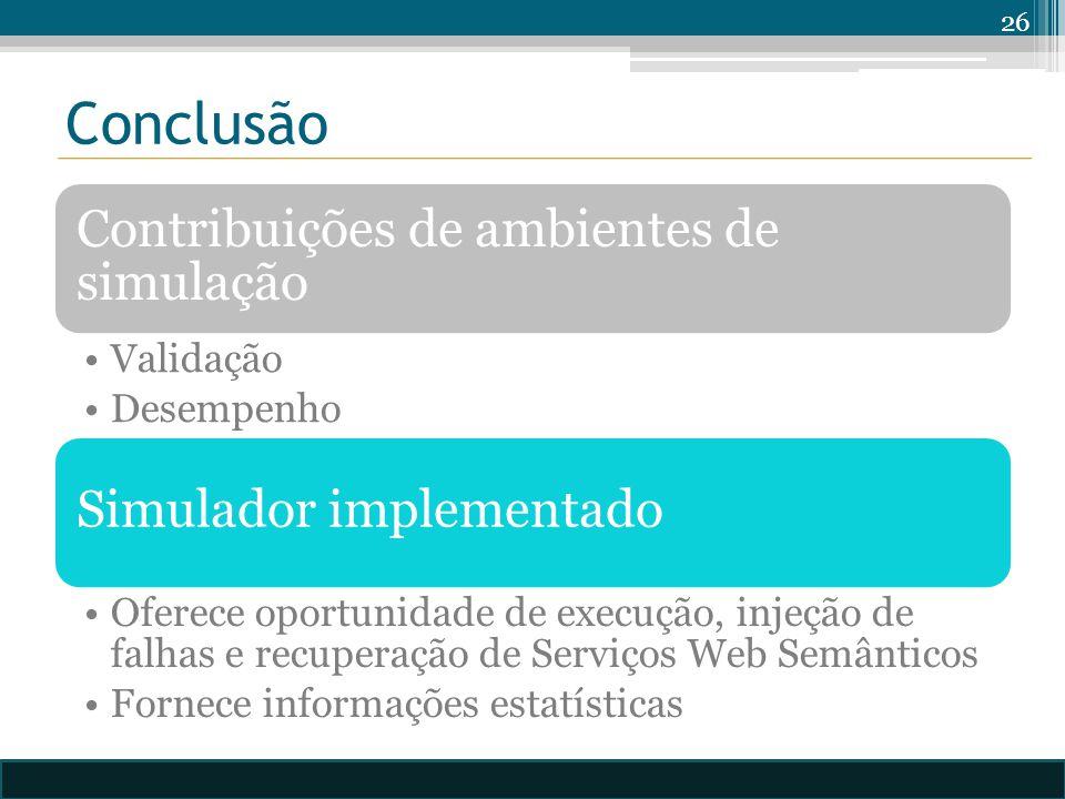 Conclusão Contribuições de ambientes de simulação Validação Desempenho Simulador implementado Oferece oportunidade de execução, injeção de falhas e recuperação de Serviços Web Semânticos Fornece informações estatísticas 26