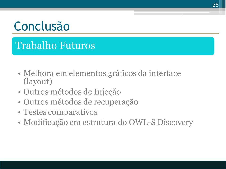 Conclusão Trabalho Futuros Melhora em elementos gráficos da interface (layout) Outros métodos de Injeção Outros métodos de recuperação Testes comparativos Modificação em estrutura do OWL-S Discovery 28