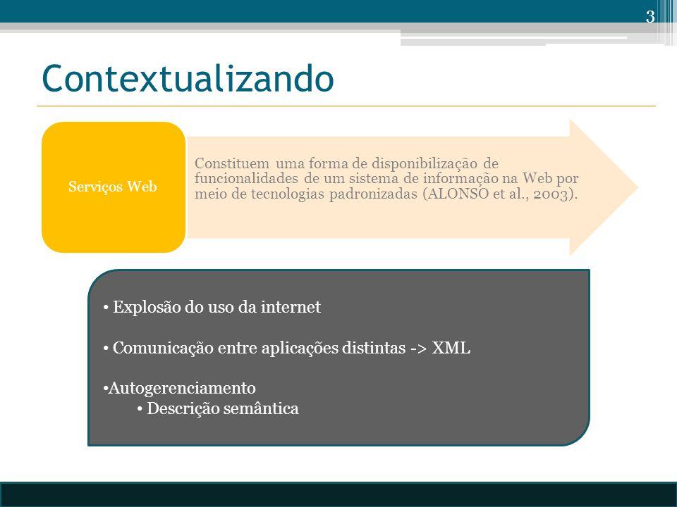 Contextualizando Constituem uma forma de disponibilização de funcionalidades de um sistema de informação na Web por meio de tecnologias padronizadas (ALONSO et al., 2003).