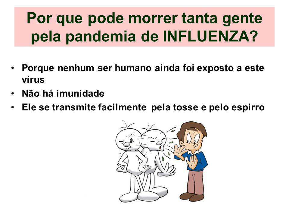 Por que pode morrer tanta gente pela pandemia de INFLUENZA? Porque nenhum ser humano ainda foi exposto a este vírus Não há imunidade Ele se transmite