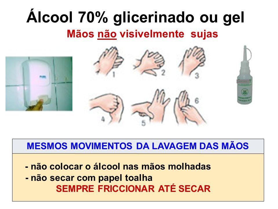 Álcool 70% glicerinado ou gel Mãos não visivelmente sujas - não colocar o álcool nas mãos molhadas - não secar com papel toalha SEMPRE FRICCIONAR ATÉ