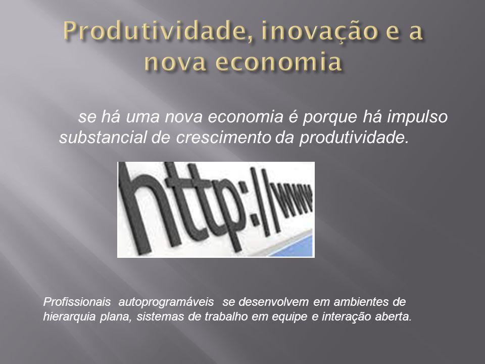 se há uma nova economia é porque há impulso substancial de crescimento da produtividade. Profissionais autoprogramáveis se desenvolvem em ambientes de