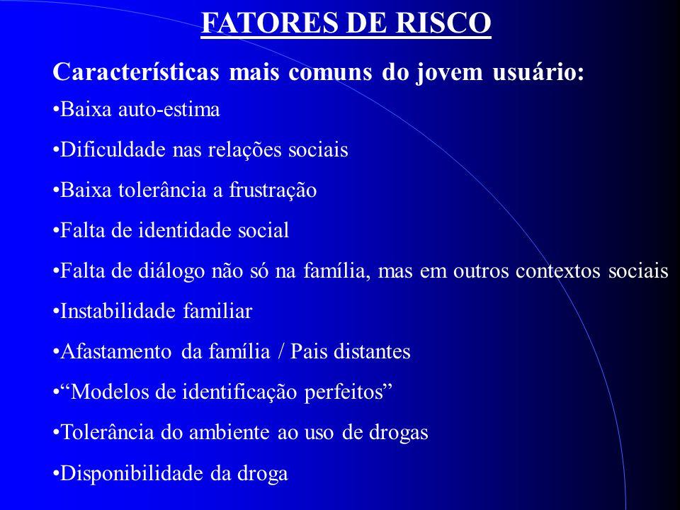 FATORES DE RISCO Características mais comuns do jovem usuário: Baixa auto-estima Dificuldade nas relações sociais Baixa tolerância a frustração Falta