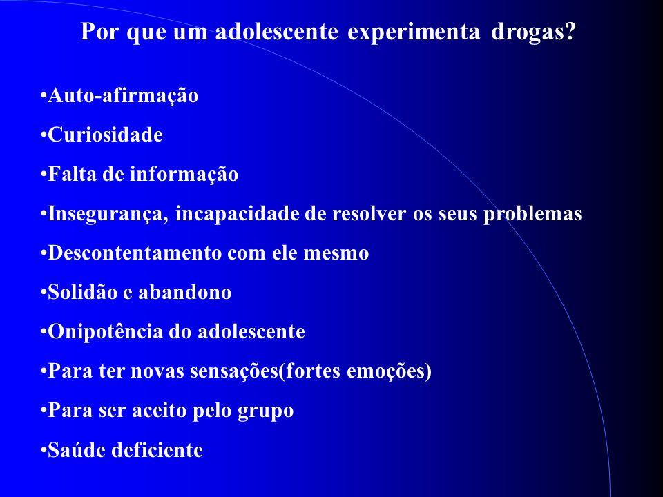 Por que um adolescente experimenta drogas? Auto-afirmação Curiosidade Falta de informação Insegurança, incapacidade de resolver os seus problemas Desc