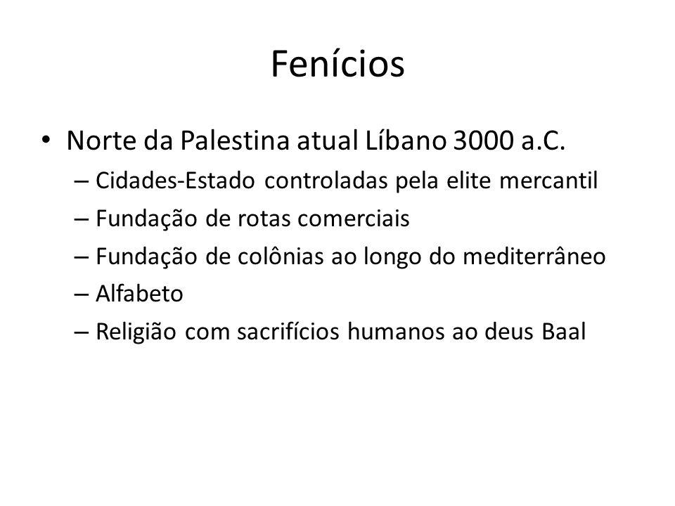 Fenícios Norte da Palestina atual Líbano 3000 a.C. – Cidades-Estado controladas pela elite mercantil – Fundação de rotas comerciais – Fundação de colô