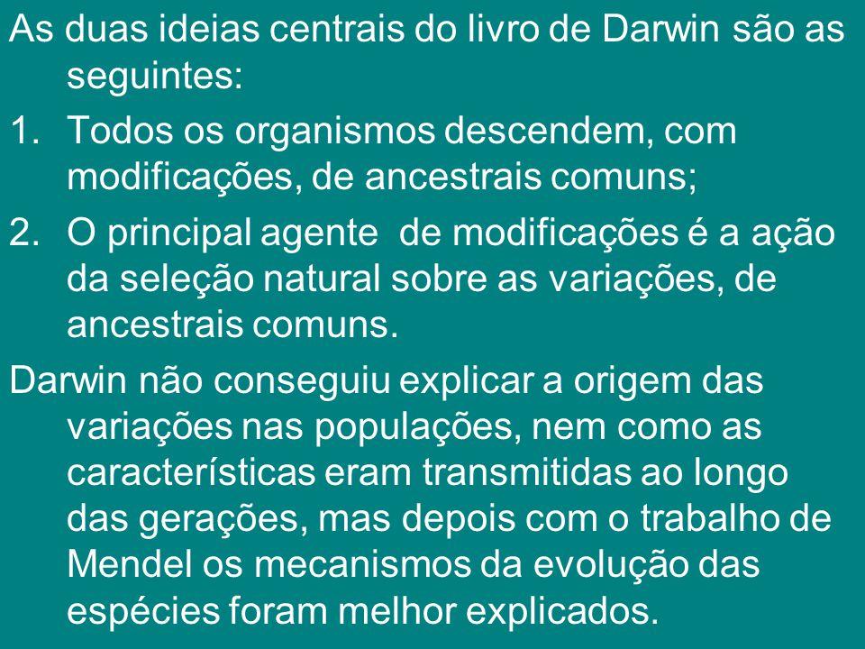 As duas ideias centrais do livro de Darwin são as seguintes: 1.Todos os organismos descendem, com modificações, de ancestrais comuns; 2.O principal ag