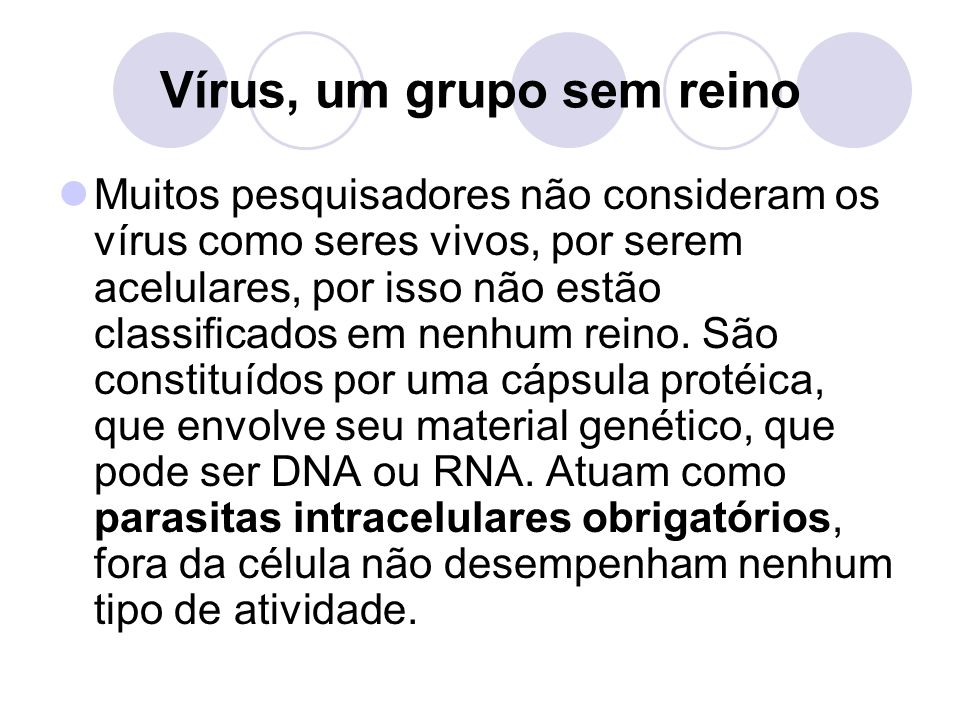 Vírus, um grupo sem reino Muitos pesquisadores não consideram os vírus como seres vivos, por serem acelulares, por isso não estão classificados em nenhum reino.