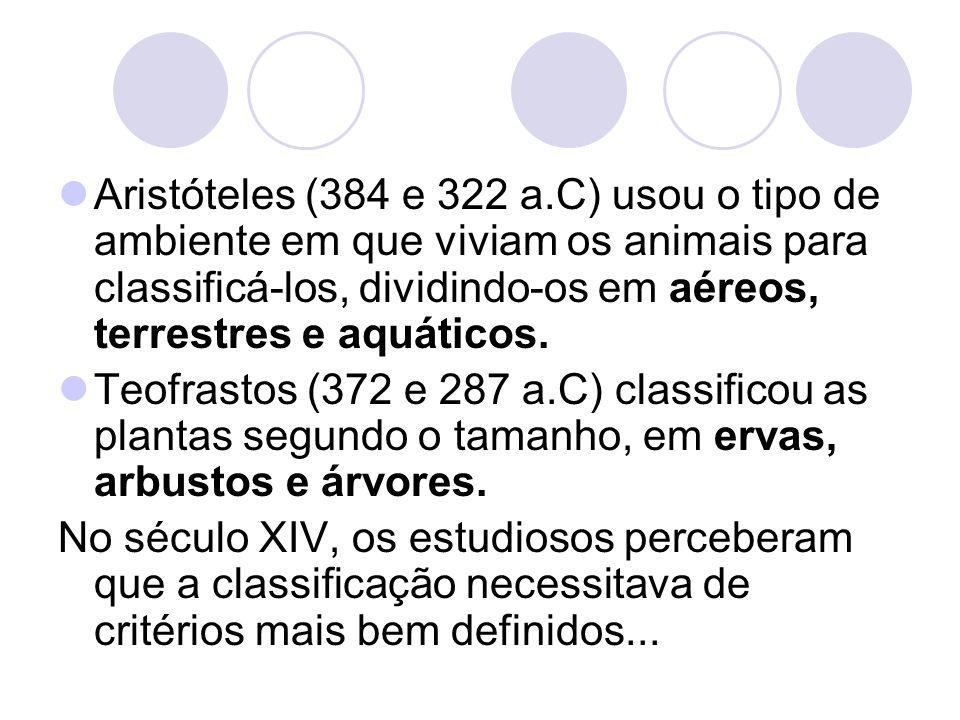 Aristóteles (384 e 322 a.C) usou o tipo de ambiente em que viviam os animais para classificá-los, dividindo-os em aéreos, terrestres e aquáticos. Teof