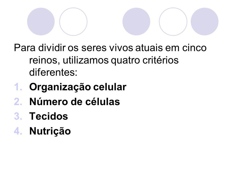 Para dividir os seres vivos atuais em cinco reinos, utilizamos quatro critérios diferentes: 1.Organização celular 2.Número de células 3.Tecidos 4.Nutr