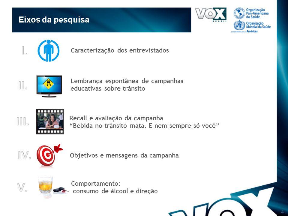 4 Eixos da pesquisa Caracterização dos entrevistados Recall e avaliação da campanha Bebida no trânsito mata.