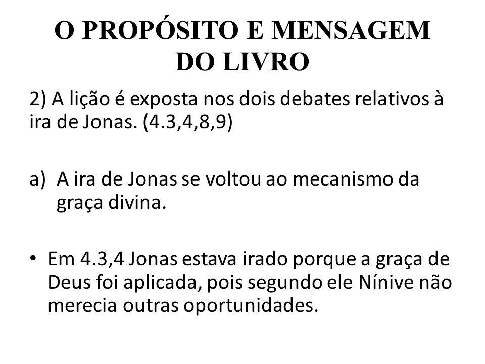 O PROPÓSITO E MENSAGEM DO LIVRO 2) A lição é exposta nos dois debates relativos à ira de Jonas. (4.3,4,8,9) a)A ira de Jonas se voltou ao mecanismo da