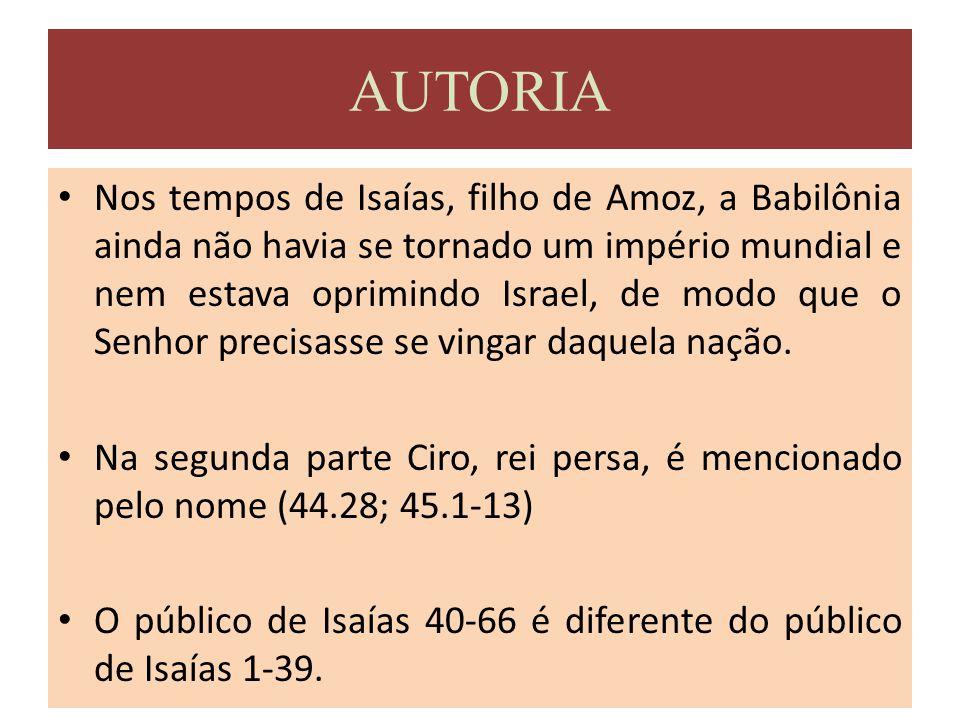 b) Diferença Teológica Isaías 1-39 enfatiza a majestade de Deus Isaías 40-66 realça a infinitude e o domínio universal de Deus.