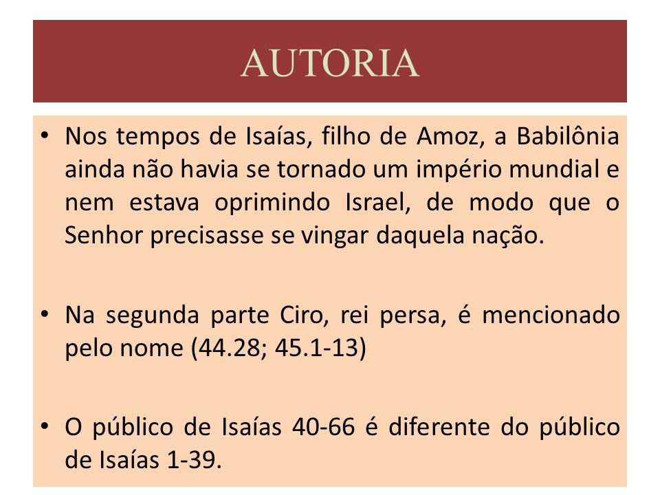 4) CAPÍTULOS 13-23 a) Oráculos sobre as nações.