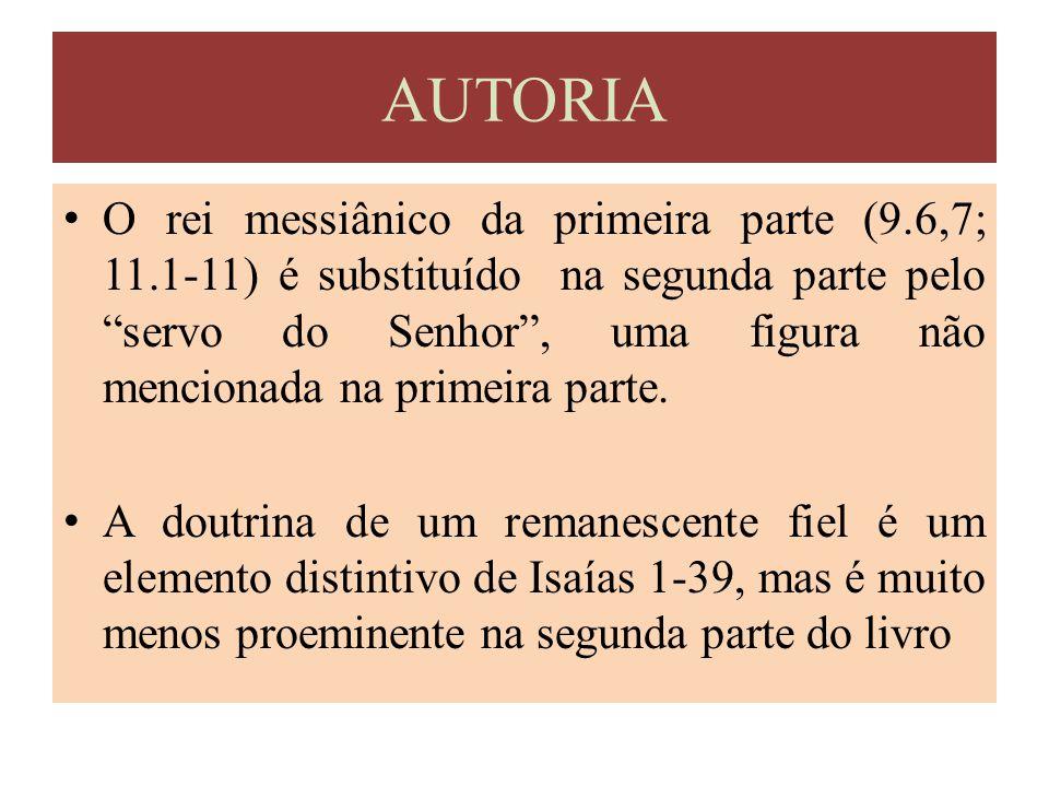 """O rei messiânico da primeira parte (9.6,7; 11.1-11) é substituído na segunda parte pelo """"servo do Senhor"""", uma figura não mencionada na primeira parte"""