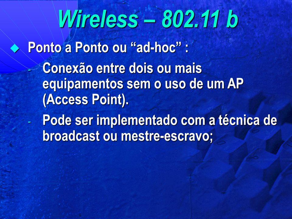 """Wireless – 802.11 b  Ponto a Ponto ou """"ad-hoc"""" : - Conexão entre dois ou mais equipamentos sem o uso de um AP (Access Point). - Pode ser implementado"""