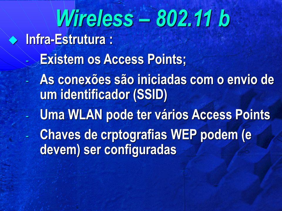 Wireless – 802.11 b  Infra-Estrutura : - Existem os Access Points; - As conexões são iniciadas com o envio de um identificador (SSID) - Uma WLAN pode