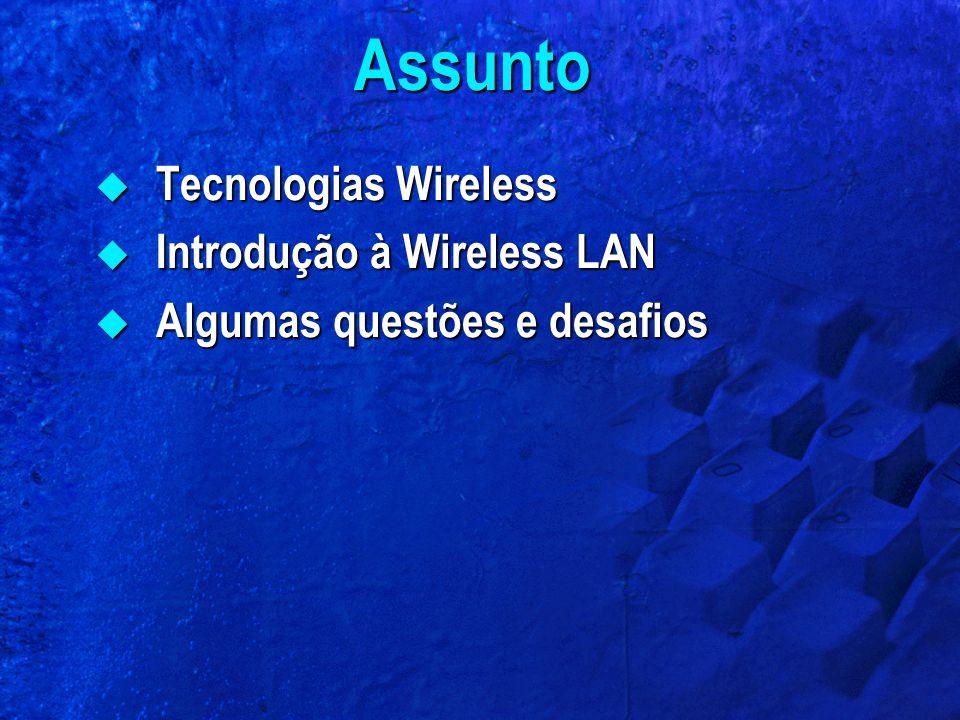 Assunto  Tecnologias Wireless  Introdução à Wireless LAN  Algumas questões e desafios