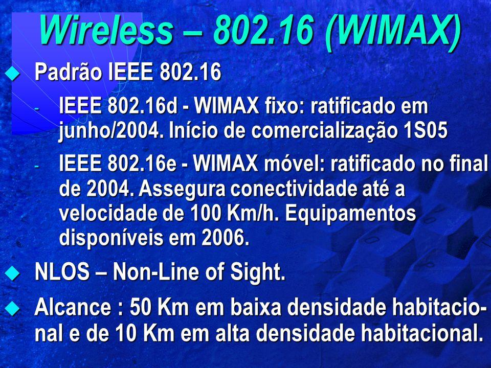 Wireless – 802.16 (WIMAX)  Padrão IEEE 802.16 - IEEE 802.16d - WIMAX fixo: ratificado em junho/2004. Início de comercialização 1S05 - IEEE 802.16e -