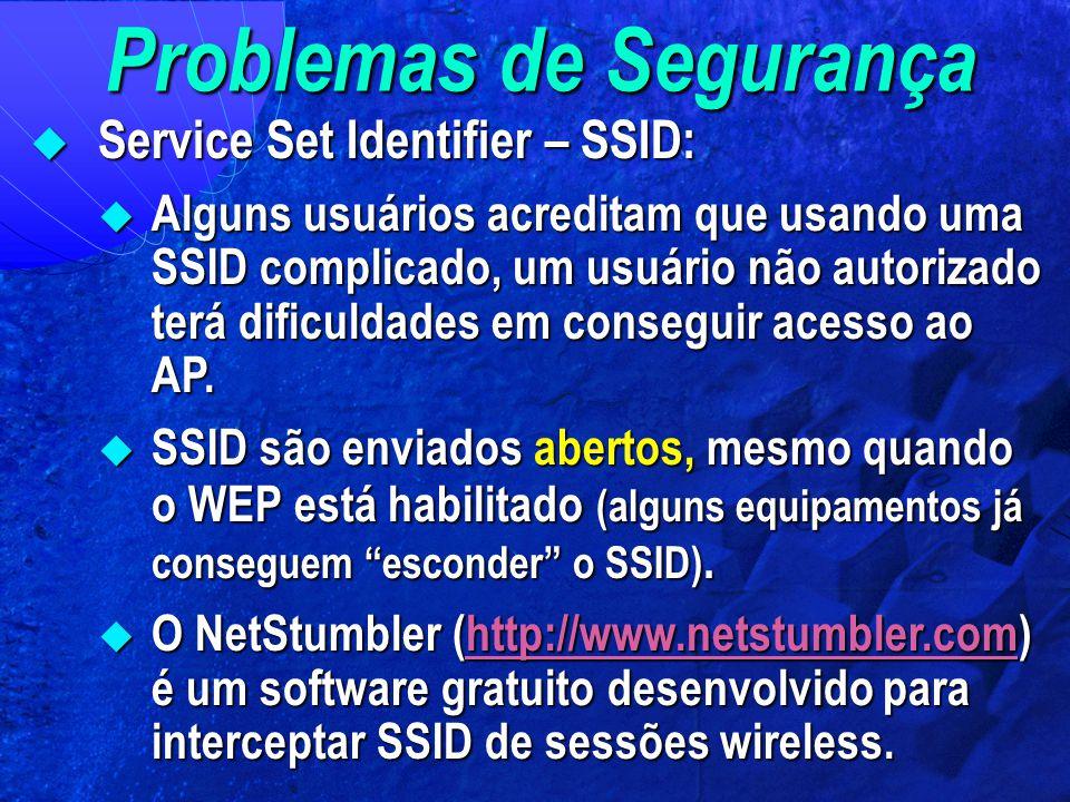 Problemas de Segurança  Service Set Identifier – SSID:  Alguns usuários acreditam que usando uma SSID complicado, um usuário não autorizado terá dif