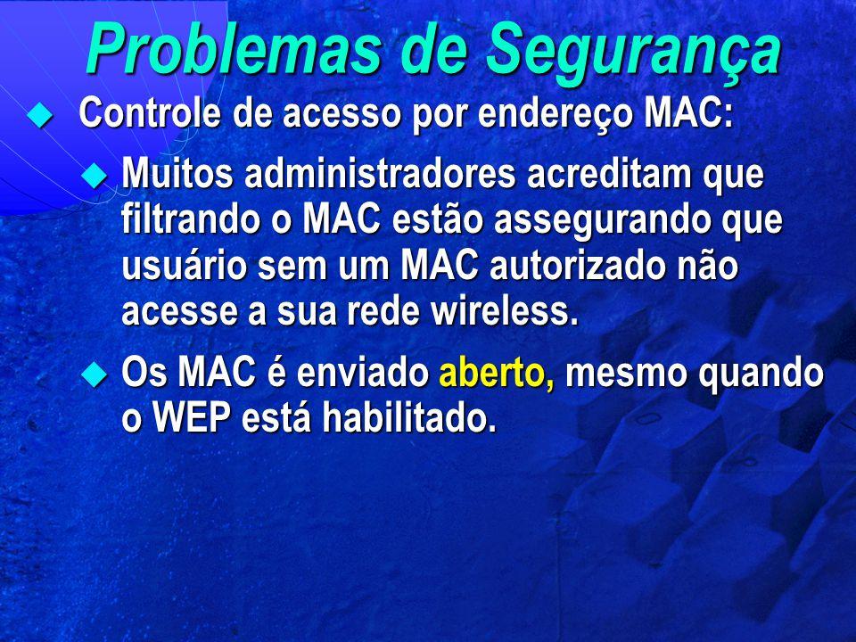 Problemas de Segurança  Controle de acesso por endereço MAC:  Muitos administradores acreditam que filtrando o MAC estão assegurando que usuário sem