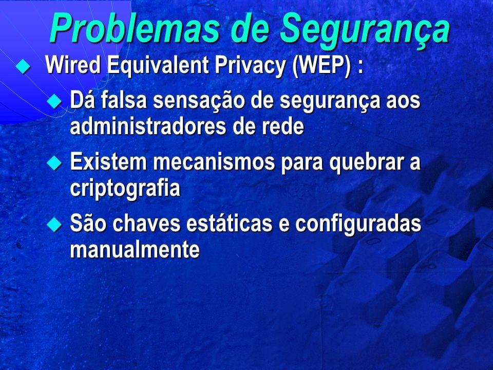 Problemas de Segurança  Wired Equivalent Privacy (WEP) :  Dá falsa sensação de segurança aos administradores de rede  Existem mecanismos para quebr