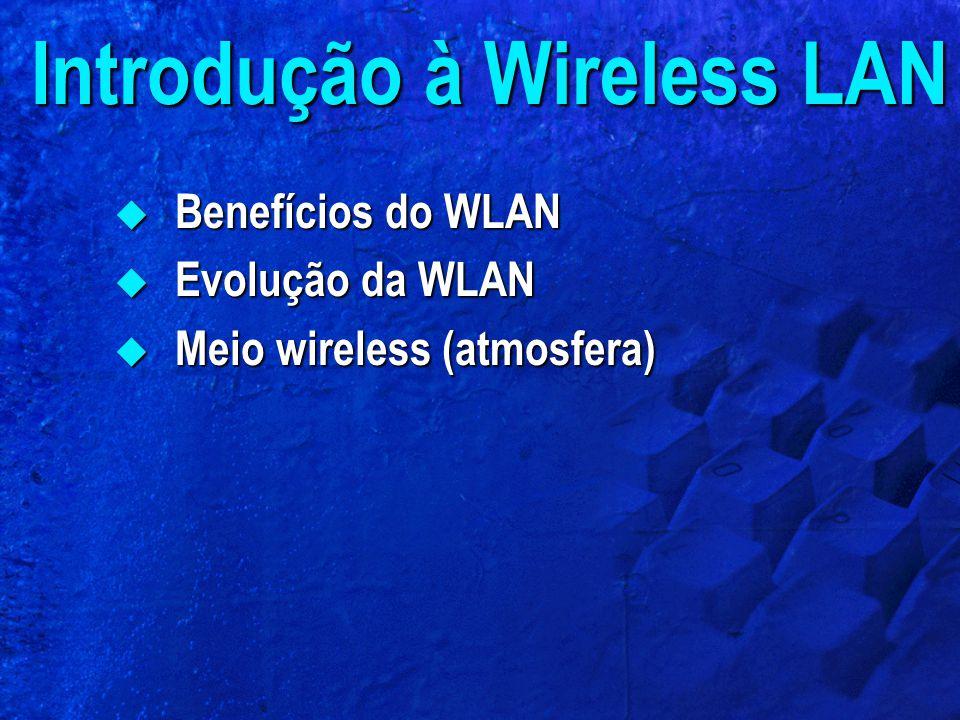 Introdução à Wireless LAN  Benefícios do WLAN  Evolução da WLAN  Meio wireless (atmosfera)