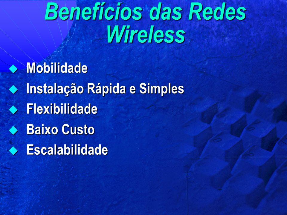 Benefícios das Redes Wireless  Mobilidade  Instalação Rápida e Simples  Flexibilidade  Baixo Custo  Escalabilidade