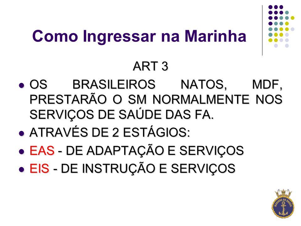 Como Ingressar na Marinha ART 3 OS BRASILEIROS NATOS, MDF, PRESTARÃO O SM NORMALMENTE NOS SERVIÇOS DE SAÚDE DAS FA.