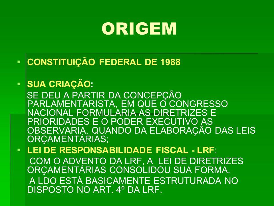 ORIGEM   CONSTITUIÇÃO FEDERAL DE 1988   SUA CRIAÇÃO: SE DEU A PARTIR DA CONCEPÇÃO PARLAMENTARISTA, EM QUE O CONGRESSO NACIONAL FORMULARIA AS DIRETRIZES E PRIORIDADES E O PODER EXECUTIVO AS OBSERVARIA, QUANDO DA ELABORAÇÃO DAS LEIS ORÇAMENTÁRIAS;   LEI DE RESPONSABILIDADE FISCAL - LRF: COM O ADVENTO DA LRF, A LEI DE DIRETRIZES ORÇAMENTÁRIAS CONSOLIDOU SUA FORMA.