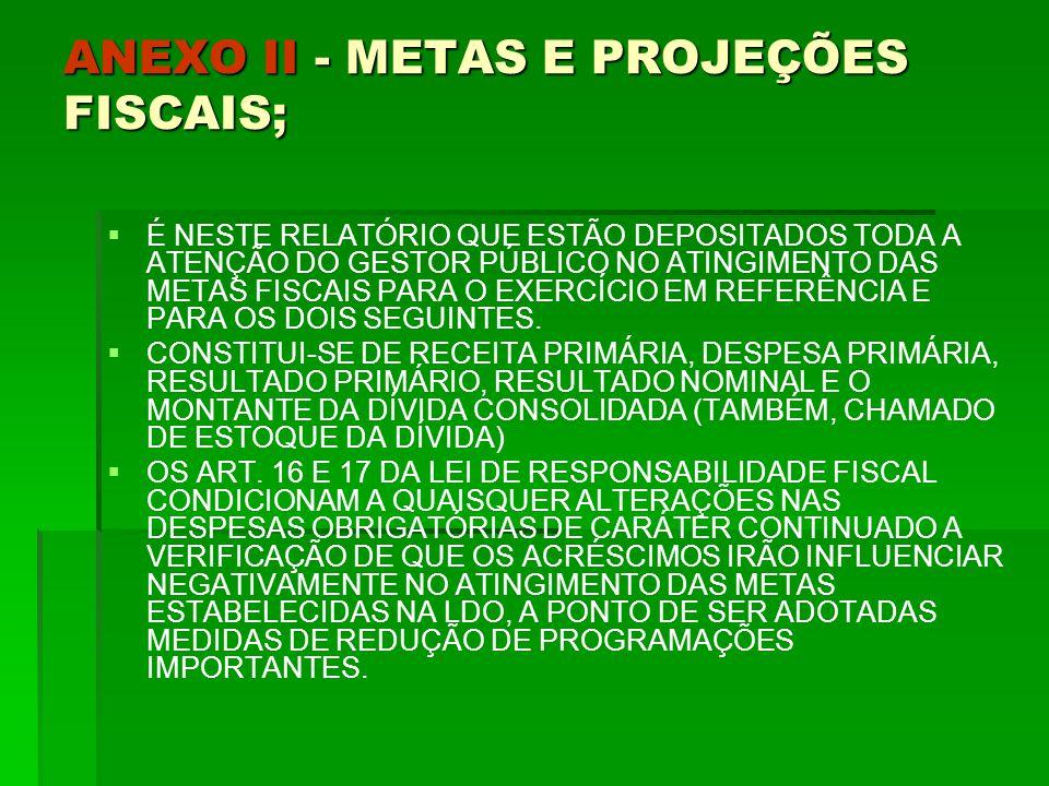 ANEXO II - METAS E PROJEÇÕES FISCAIS;   É NESTE RELATÓRIO QUE ESTÃO DEPOSITADOS TODA A ATENÇÃO DO GESTOR PÚBLICO NO ATINGIMENTO DAS METAS FISCAIS PARA O EXERCÍCIO EM REFERÊNCIA E PARA OS DOIS SEGUINTES.